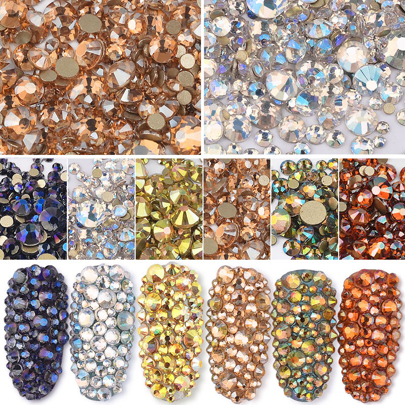 amethyst ab non hotfix crystal rhinestones ss3 ss30 and mixed sizes glue on glass chaton diy backpack clothes bag shoes supplies SS3-SS20 Mixed Size Shiny AB Crystal Nail Art Rhinestones Champagne Amber Gold Flatback Non Hotfix Glass Gem Stone Manicure F029