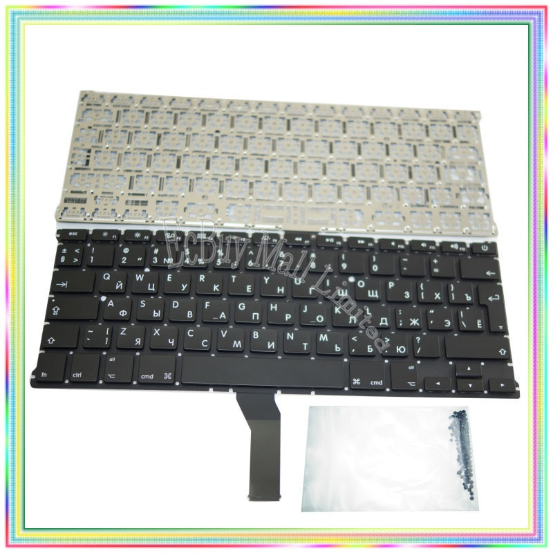 لوحة مفاتيح روسية جديدة تمامًا ، بدون إضاءة خلفية ومسامير للوحة المفاتيح لجهاز Macbook Air ، 13.3