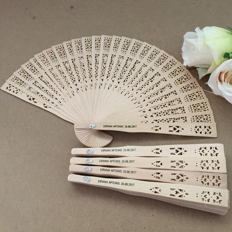 50 قطعة الخشب الصينية للطي اليد مروحة خشبية طوي المشجعين مخصصة الزفاف هدية استحمام الطفل ديكور حفلة Favors
