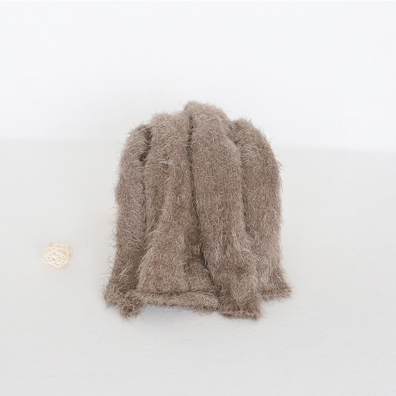 Brown Knit Velvet Wrap Crochet Swaddle Sack Baby Photography Wraps Knit Posing Blanket Newborn Boy Photo Props Infant Blanket