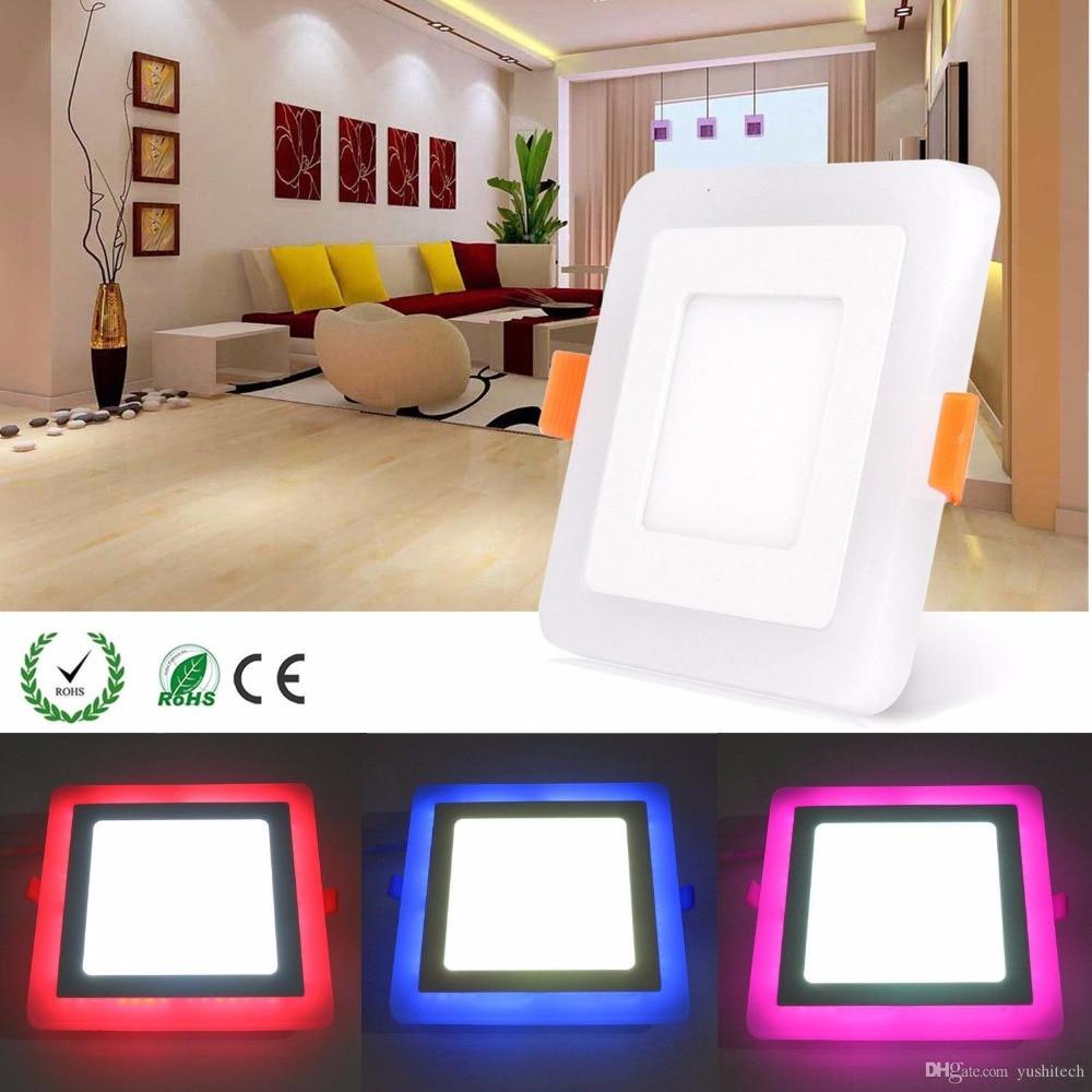 6W 9W 18W RGBW Dual Farbe LED Decke Einbau Platz Panel Downlight Spot Licht Lampe Für Home büro Club 100 lumen/w