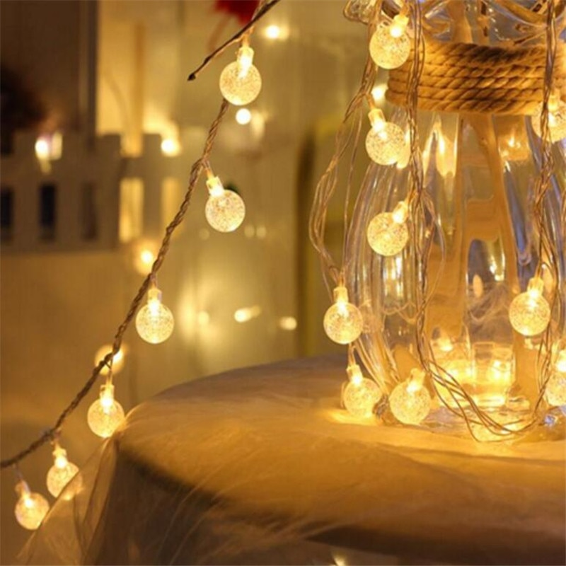 Hot selling AA Battery 3M 20 LED Crystal Ball bulb string lights Garland LED Christmas decorations Festival outdoor Wedding 3m globe led garland starry crystal wishing ball string lights decors for curtains bedroom living room balcony christmas wedding