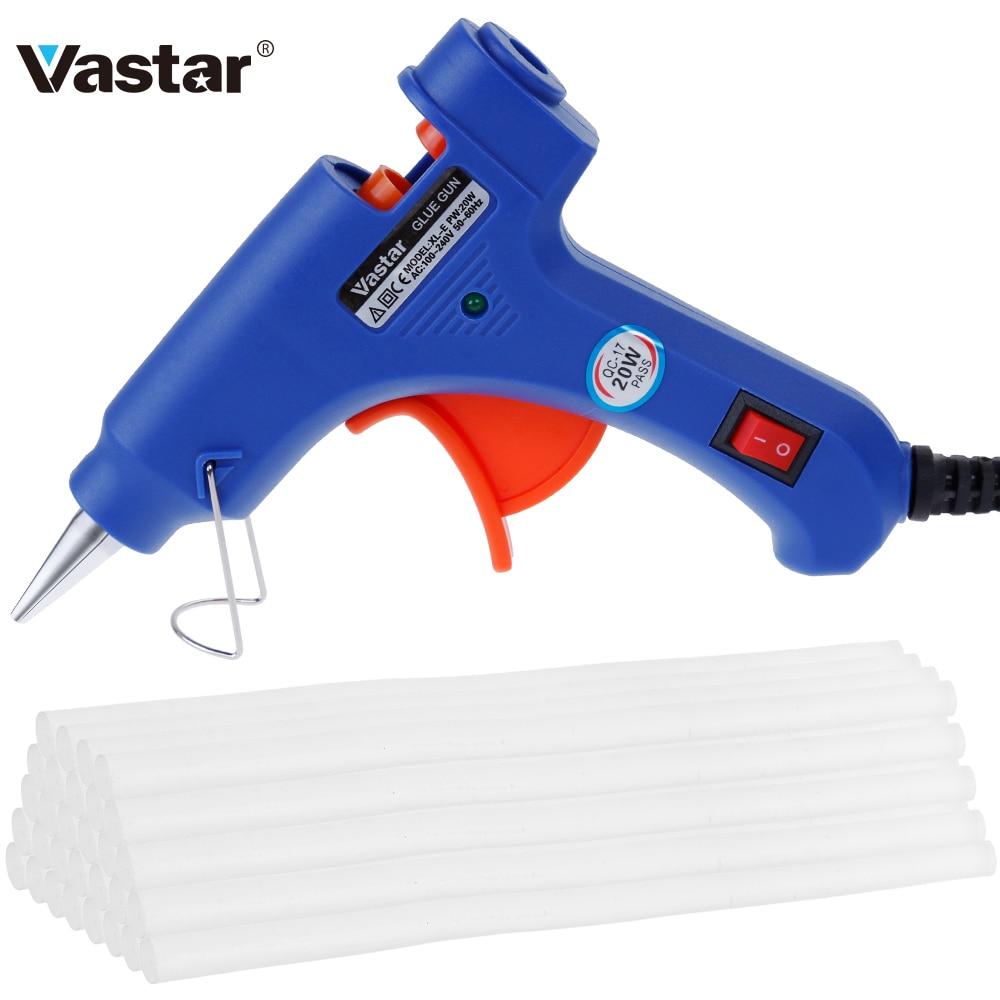 20W Hot Melt Glue Gun with 2Pcs/10 Pcs/30pcs 7mm*200mm Glue Stick Industrial Mini Guns Thermo Electric Heat Temperature Tool