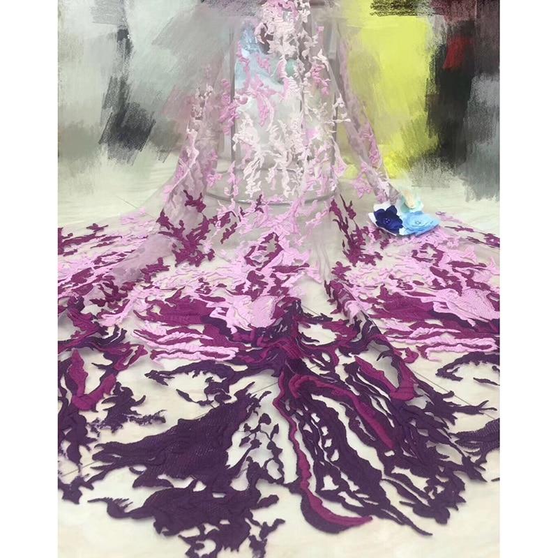 Bonito color púrpura cordón africano encaje ADF19 patrón de lujo bordado tul encaje 2019 tela de encaje de red para fiesta de boda