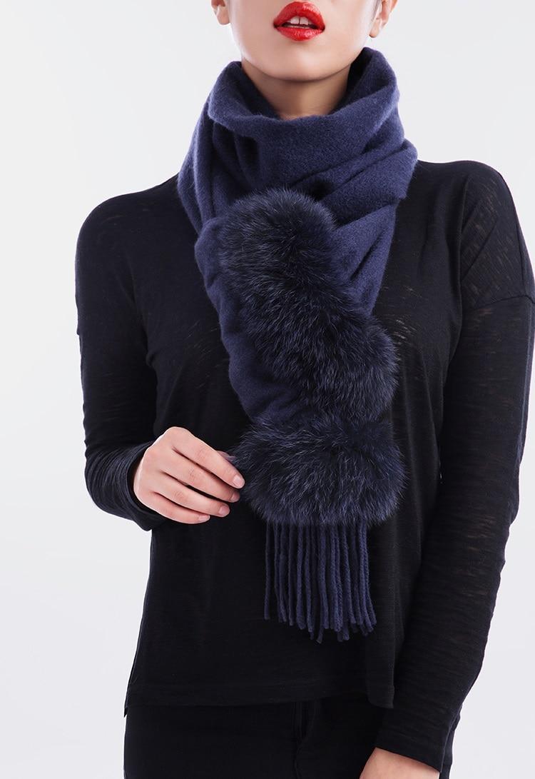 الفاخرة وشاح النساء السيدات الشتاء الخريف الربيع يلتف 100% نقية الكشمير الحقيقي الثعلب الفراء تقليم S23