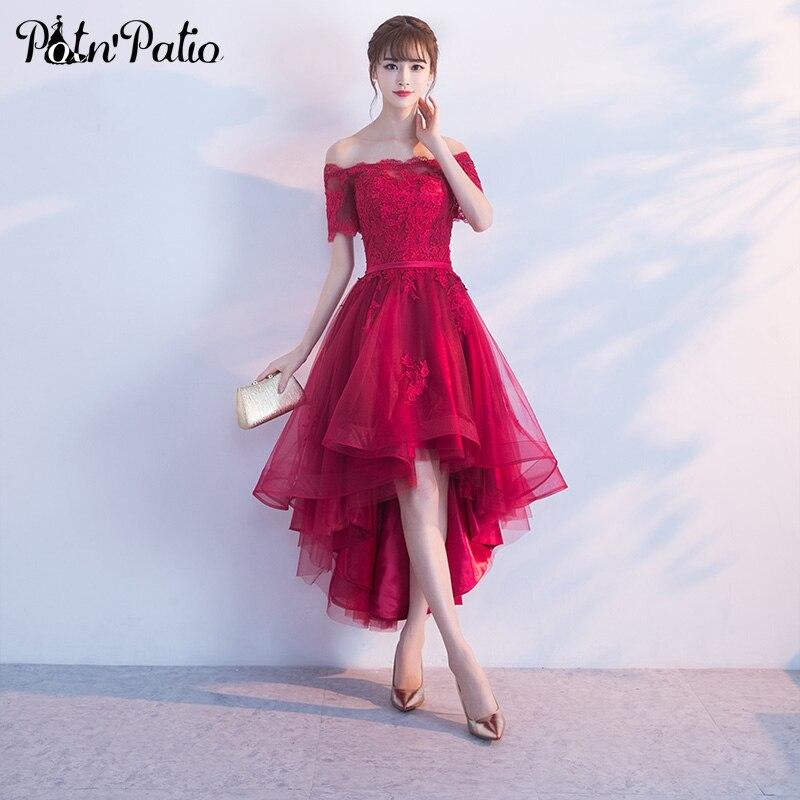 PotNPatio Corto Cap Mangas Hombro Vestidos de Baile 2017 Apliques de Encaje de Tul Rojo Vino Vestidos de Baile Alto Bajo