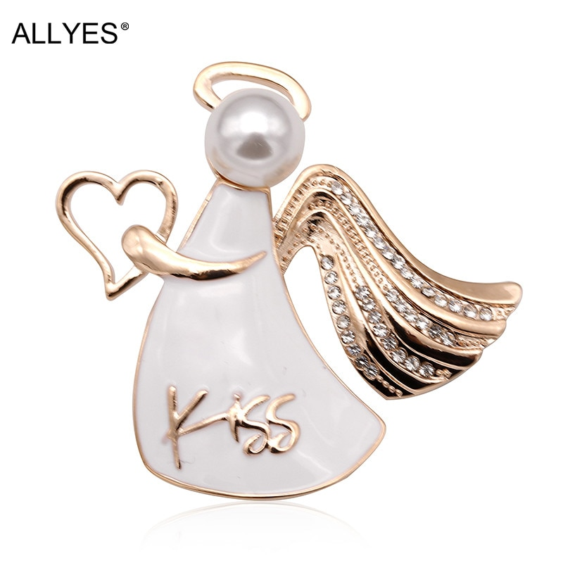ALLYES сердце поцелуй Крыло ангела Броши для женщин девушки прекрасный сплав жемчужные кристаллы для одежды воротник белая эмаль булавка брош...