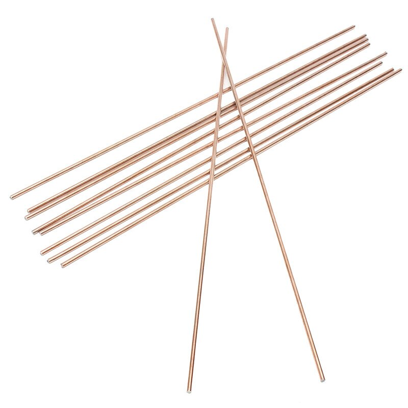 10 Uds 1,6/2,4/3,2mm * 330mm alambre de soldadura de brazo de cobre rojo soldadura TIG varilla de relleno