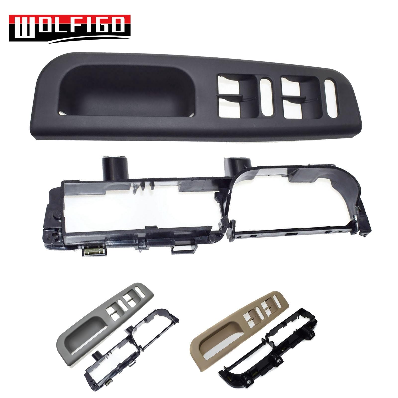 WOLFIGO gris/Negro/Beige 2 piezas interruptor frontal izquierdo bisel manija embellecedor Kit ajuste VW Passat MK4 1J1867179A, 3B1867171E nuevo