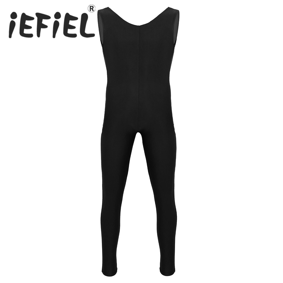 Male Mens Adults Dance Bodysuit Well Fit One Piece Scoop Neck Sleeveless Skin-Tight Solid Color Vest Unitard Bodysuit Dancewear