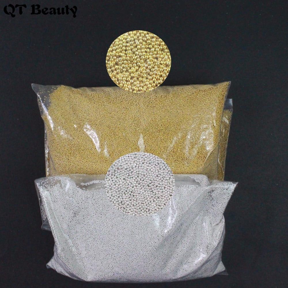 400 g/bolsa 100% oro/plata gel de esmalte de uñas calcomanías Mini ronda 0,6/0,8/1mm Metal abalorios de bolitas Caviar DIY decoración artística de uñas 3D consejos