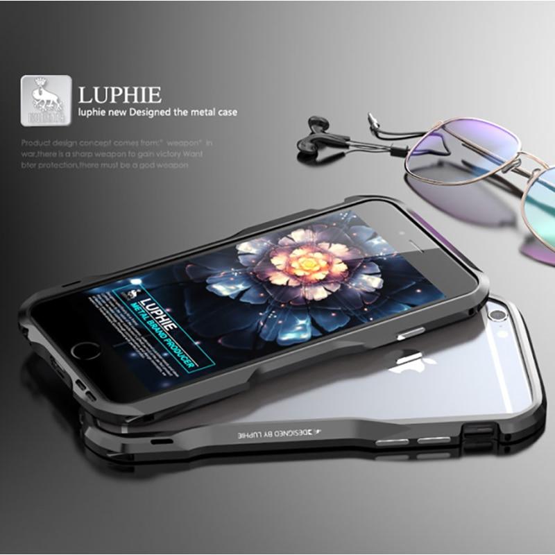 Parachoques de Metal Luphie para iPhone 6 7 8 XS Max, carcasa de marco de Metal de aleación de aluminio para Apple iPhone 6S Plus, carcasa de armadura de 5,5 pulgadas