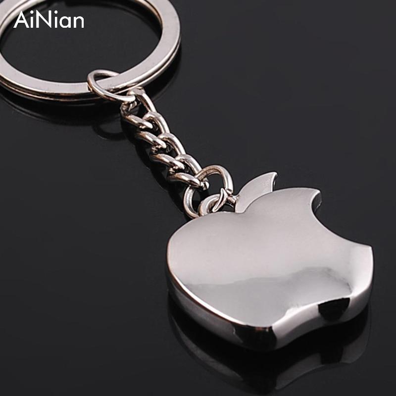 AiNian New Arrival Novelty Souvenir Metal Apple Key Chain Creative Gifts Apple Keychain Key Ring Trinket Car Key Ring