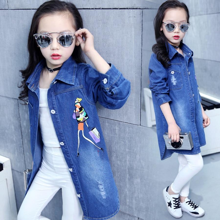 Куртка для девочек; Хлопковая джинсовая куртка для маленьких девочек; Детская рубашка; Сезон весна-осень; Детские джинсы; Детская одежда; Ку...