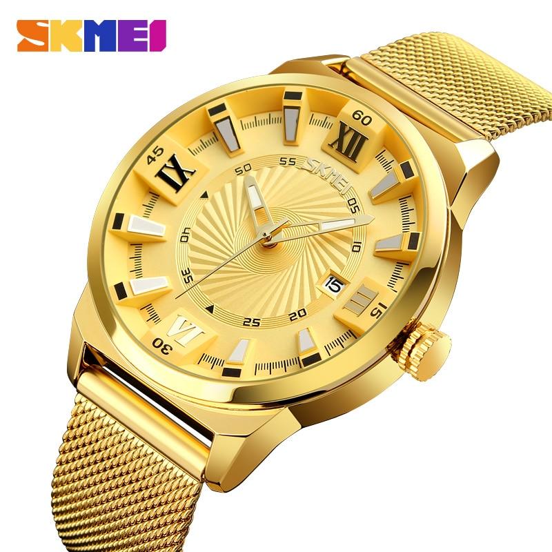 SKMEI-ساعة يد كوارتز للرجال ، ماركة فاخرة ، أعمال ، بحزام ذهبي ، مقاومة للماء ، ذكر ، 9166