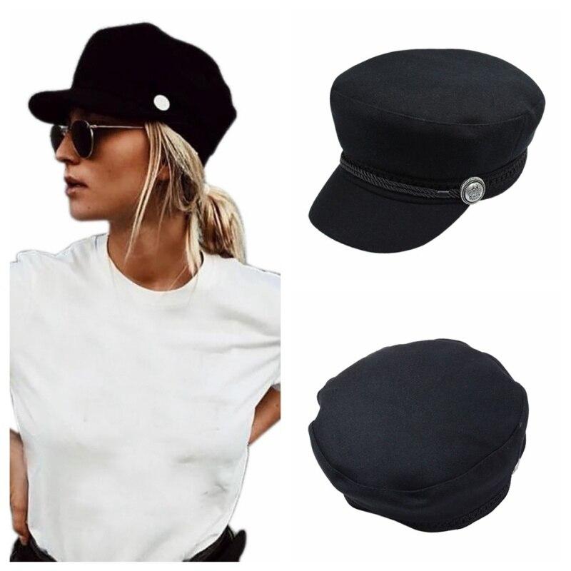 Зимние шапки для женщин и мужчин, унисекс, восьмиугольная кепка, повседневная шерстяная бейсболка на пуговицах, солнцезащитный козырек, Кепка Gorras Casquette Touca, Черная