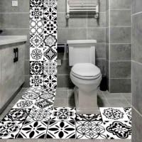 Autocollant carrelage retro noir et blanc   Autocollant Mural impermeable en PVC de Style nordique pour la cuisine  la salle de bain  decor a la maison  murale dart pour le sol de 20 100cm