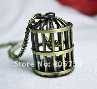 ساعة بقفل العصافير مزودة بسلسلة ساعات كوارتز ساعة جيب أثرية بسلسلة مجوهرات
