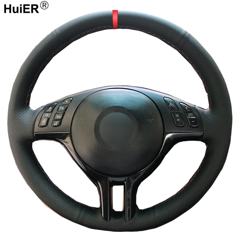 HuiER-غطاء عجلة القيادة ، الخياطة اليدوية ، مضاد للانزلاق ، لسيارات BMW E39 e46325i E53 X5