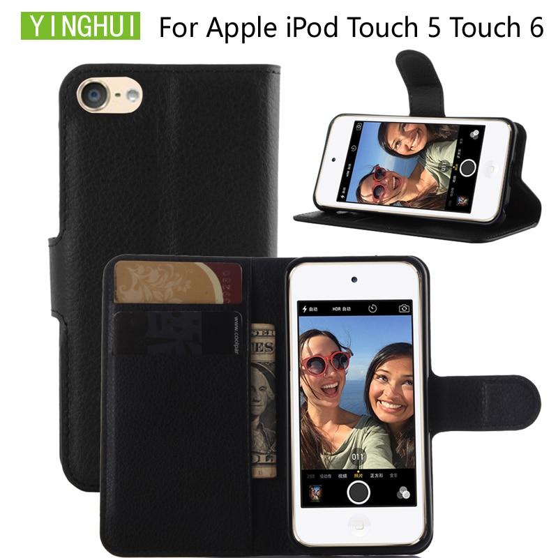 YINGHUI para iPod touch 5 fundas tipo billetera con soporte para tarjetas estilo libro Tapa de cuero funda protectora para iPod touch 6 funda