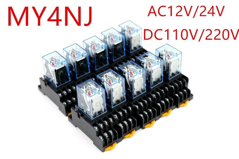 10 ensemble/lot MY4NJ AC12V AC24V DC110V DC220V bobine 4NO 4NC relais DIN Rail 14 broches + Base Mini relais