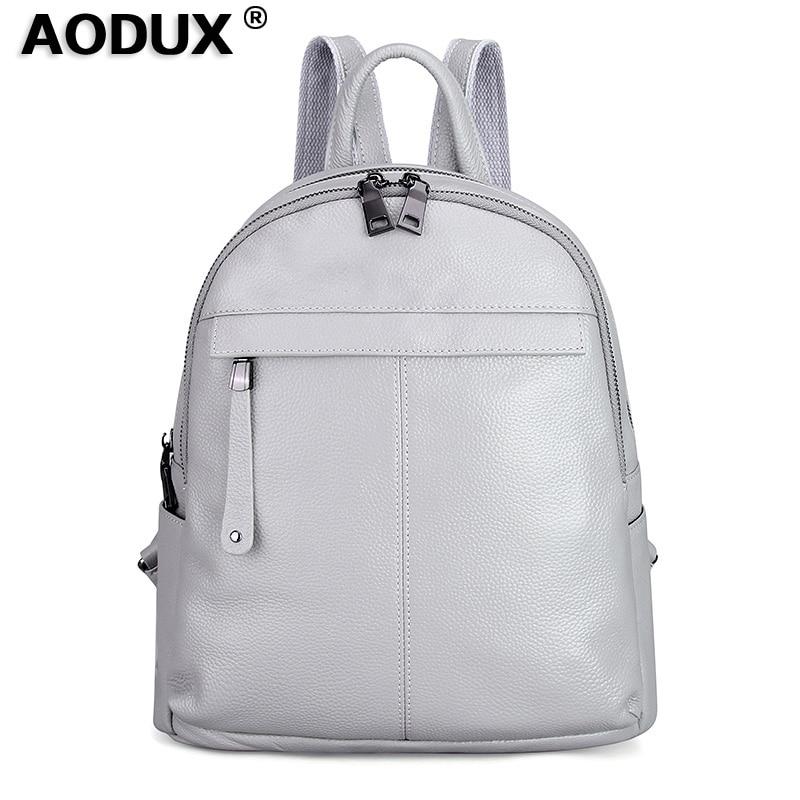 Aodux 2 حجم الأبيض الفضة الظهر حقيقية جلد البقر الإناث النساء على ظهره الأولى طبقة جلد البقر المدرسة أكياس أسود الأجهزة