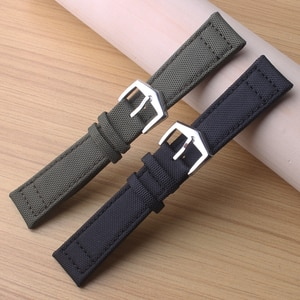 Soft Inside Leather Watch Band 20mm 21mm 22mm Green Watch Straps Stainless Steel Buckle Watch Accessories Nylon Fabric Black new