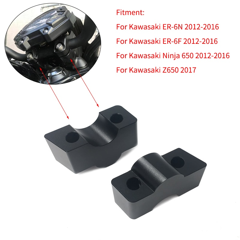 Motocicleta modificado guiador barra risers altura up adaptadores 30mm para kawasaki ER-6N er 6n ER-6F ninja 650 12-16 z650 17
