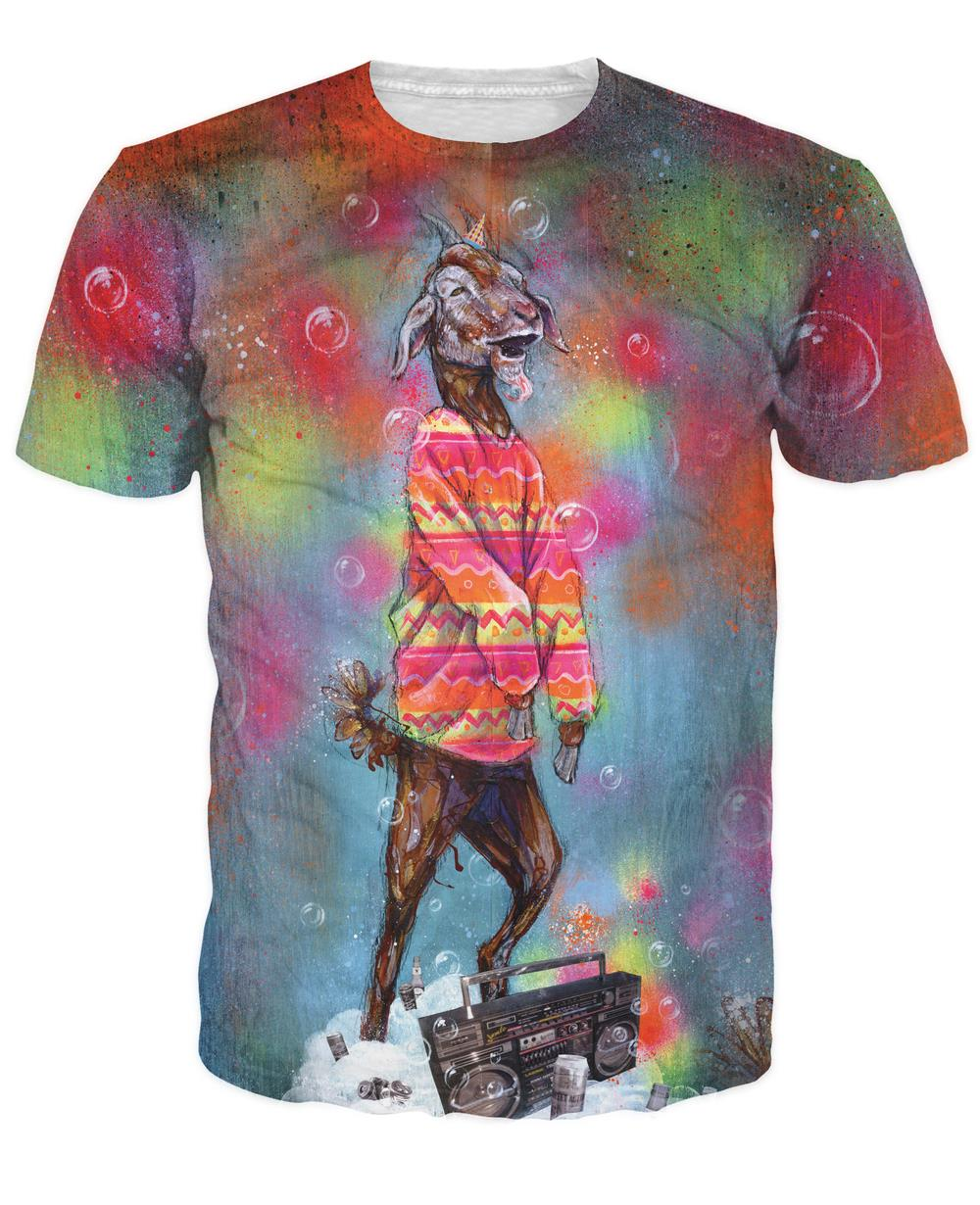 Super fiesta cabra camiseta enfermo hombres camiseta cabra Billy Hipster rockeando Boombox camisa psicodélica mujer Sexy T camisa