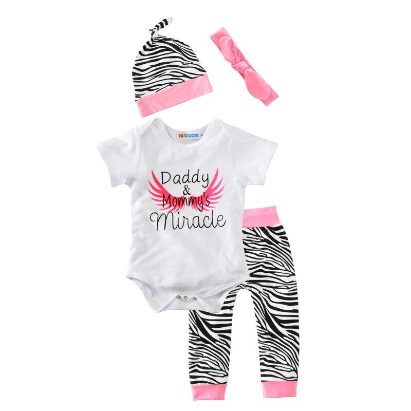 Conjunto de ropa de bebé 2017 nuevo sombrero de patrón de cebra + diadema de arco Rosa + peleles de alas de Ángel + Pantalones 4 Uds. Letra niñas niños ropa trajes