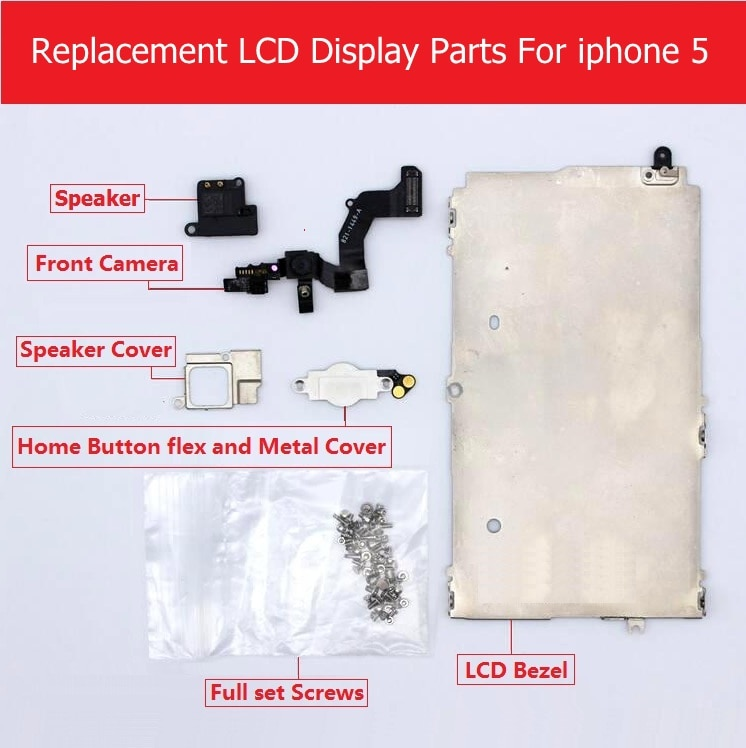 Pièces de jeu complet au détail pour Apple iPhone 5 LCD affichage lunette en métal/caméra avant/haut-parleur/bouton daccueil flex/vis/pièces de support