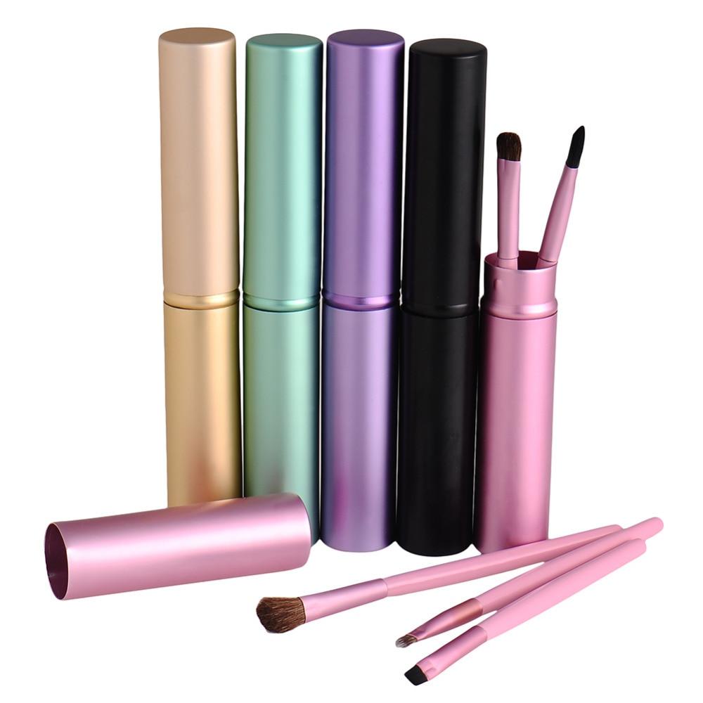Novo 5 pçs/set profissional multicolorido pony cabelo rosto lábios eyeliner sombra beleza maquiagem escovas kit de ferramentas com tubo redondo