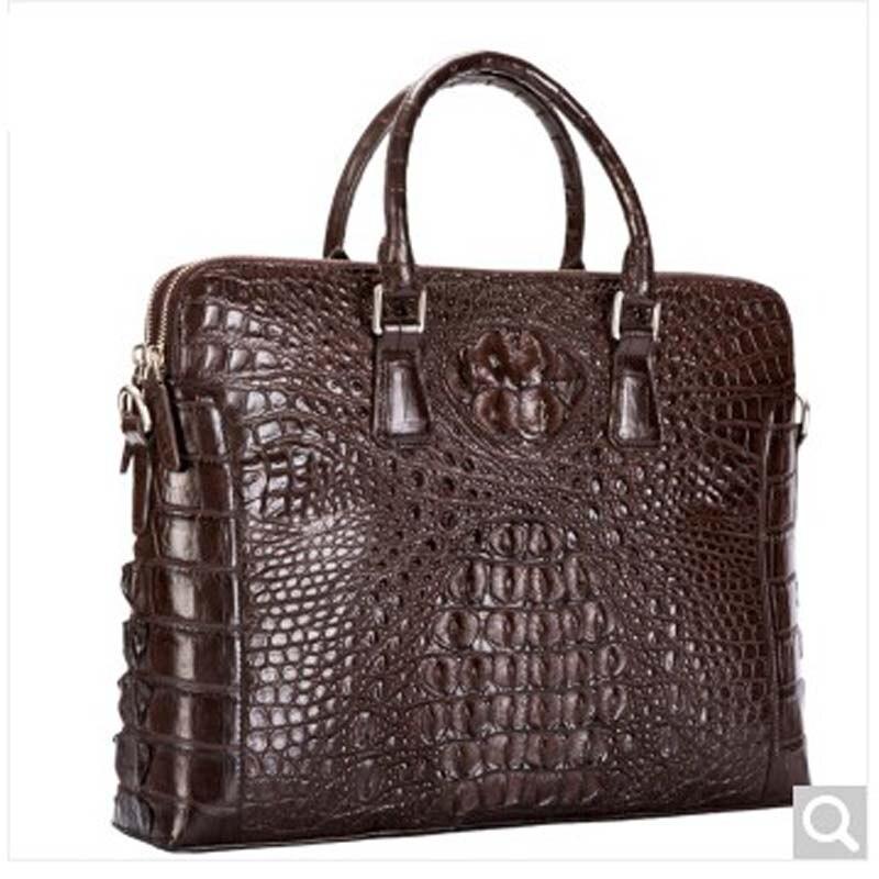 baosidu Crocodile leather men Briefcase man tote bag large capacity business rare leather man bag black coffee