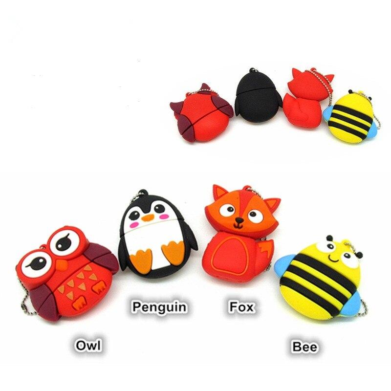 Lindo pingüino buho fox abeja usb flash drive 1 GB 2GB 4GB...
