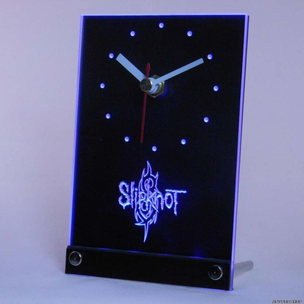 Tnc0152 Slipknot banda Logo Rock n Roll escritorio 3D LED reloj