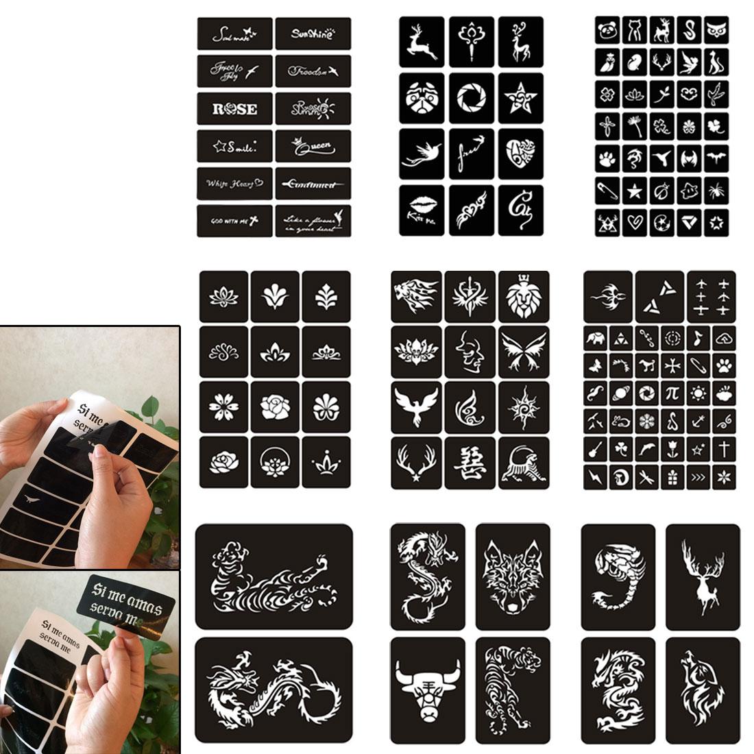 Mulheres beleza Corpo Perna Pés Mão Arte Desenho Pintura Design Etiqueta Do Tatuagem Do Airbrush Template 10 Folhas de Henna Estêncil Do Tatuagem
