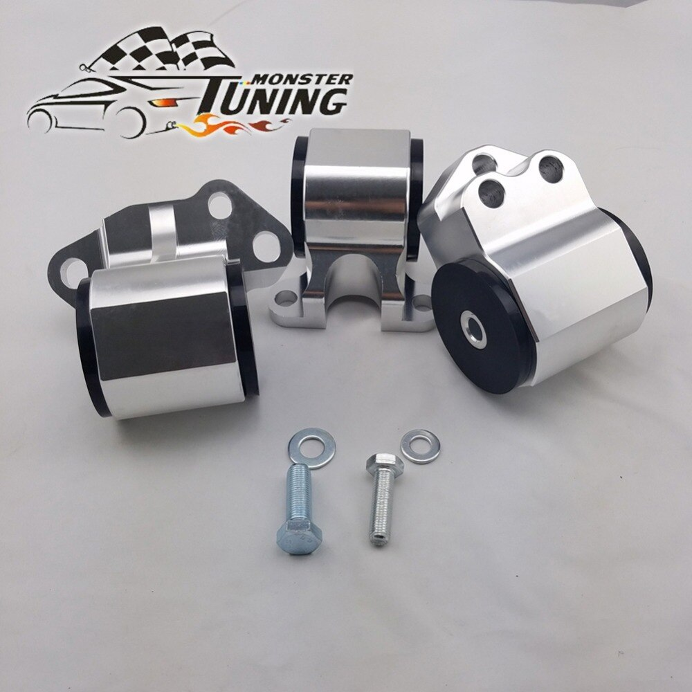 Tuning Monster Billet aluminio plata 3 perno Cambio de motor Kit de montaje para HONDA CIVIC DC D15 D16 B16 B18 92-95 EG con logotipo