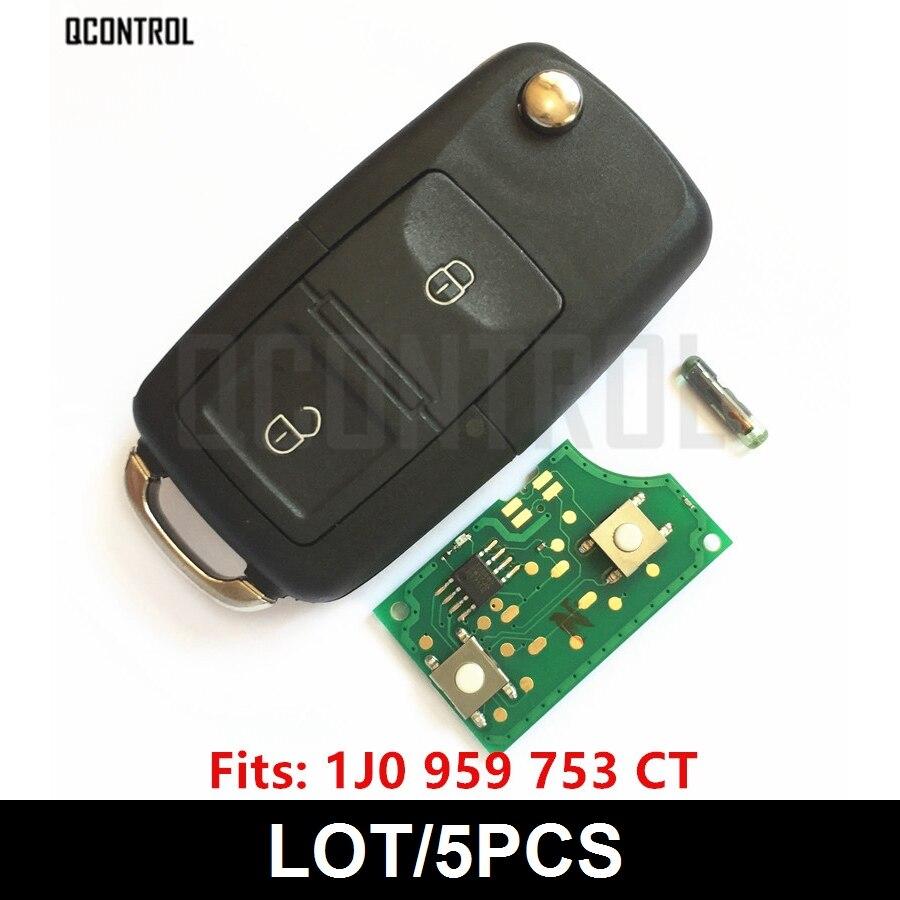 QCONTROL Chave Remota Do Carro DIY para VW/VOLKSWAGEN Polo Bora MK4 Golf Transporter 1J0959753CT/5FA009259-00 1999-2009