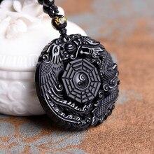 Pendentif collier Dragon et phénix en obsidienne noire pendentifs porte-bonheur obsidienne