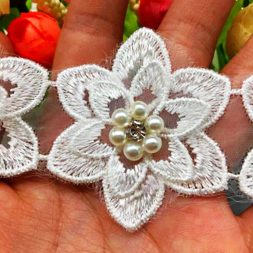 10x Vintage Flor de melocotón flor encaje de perlas Trim Rhinestone Applique Trimmings tela de cinta vestido de boda bordado costura