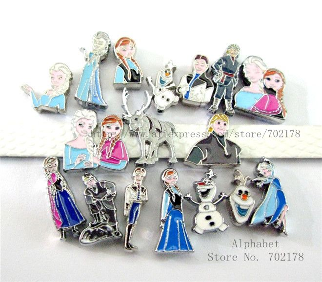 10p mezcla de personajes de dibujos animados Olaf Anna Elsa princesa slide charms precio al por mayor DIY charms interno dia.8 mm ajuste 8mm banda SL238