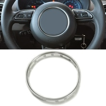 Car ABS chrome steering wheel ring trim sticker center emblem logo frame sequin cover accessories fo