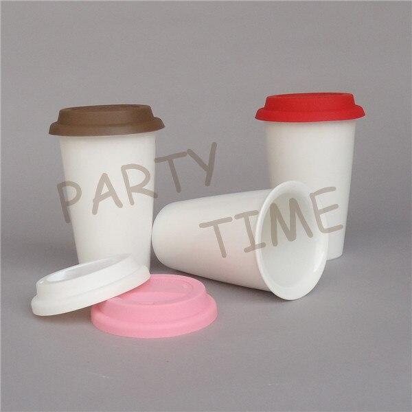 Taza de doble capa, Taza de cerámica blanca de doble pared con tapa de silicona de Color