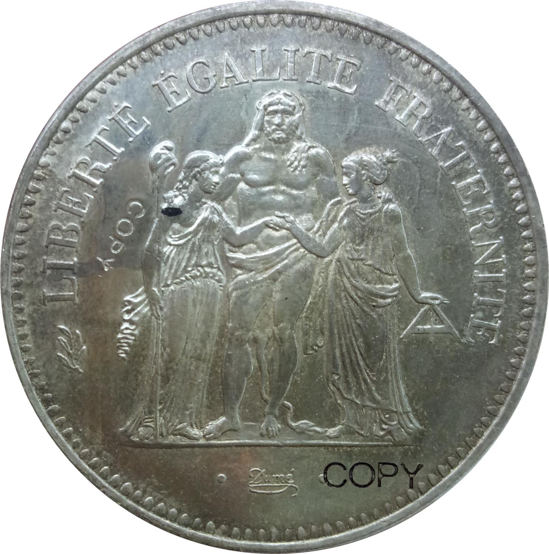 Monedas de copia de plata chapadas en Francia 50 franceses 1978