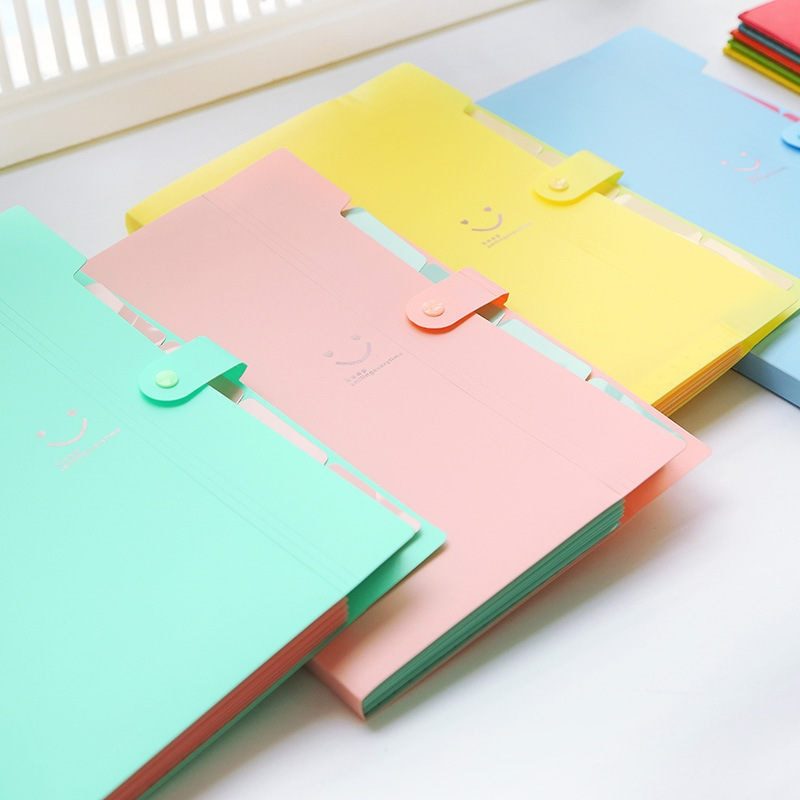 Coloffice Carpeta de producción de Color caramelo de estilo Simple Multi-función 5 en Mezzanine archivo A4 carpeta de documentos 1 pieza