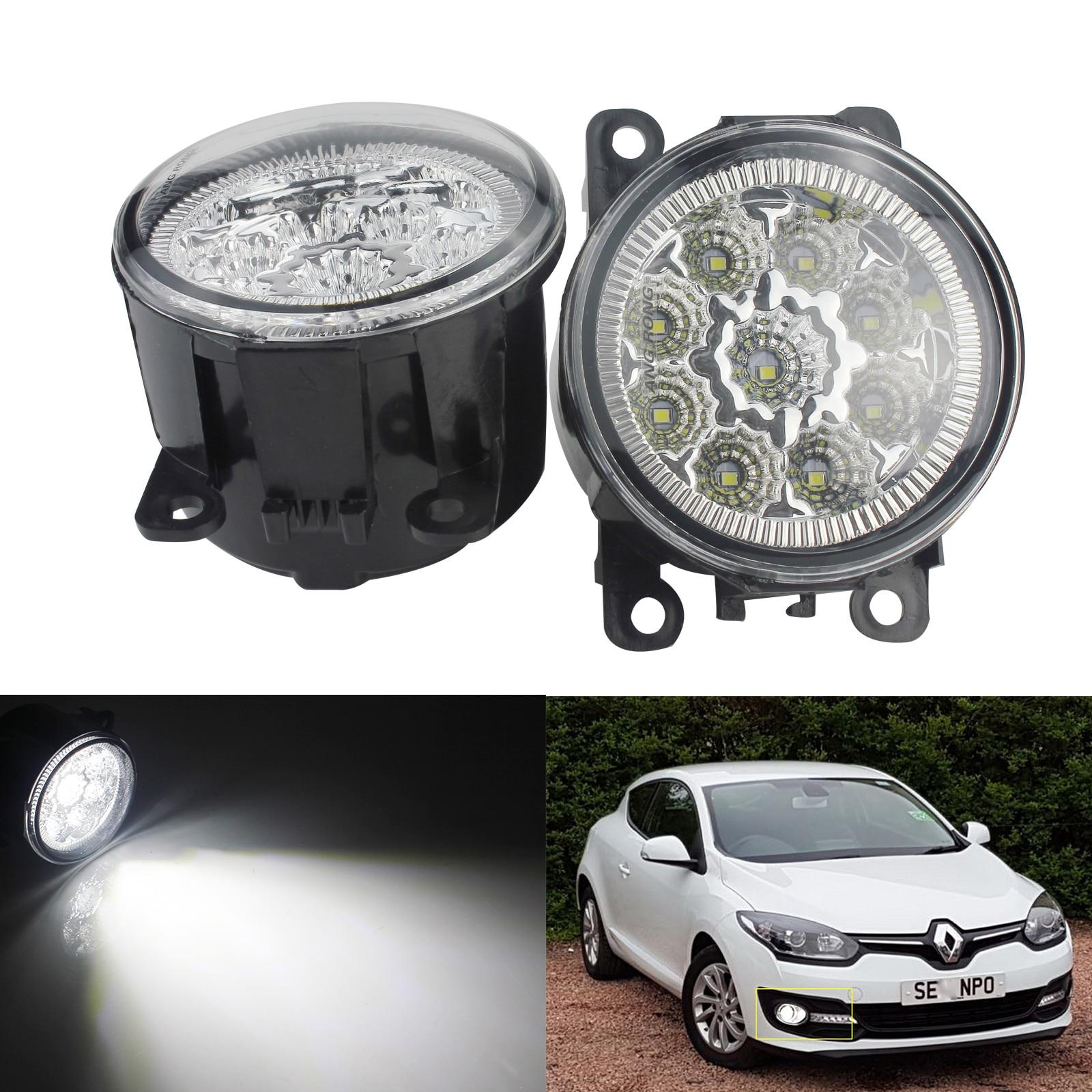 ANGRONG 2 uds 9 LED luz antiniebla delantera redonda DRL para Ford C-MAX Fiesta Focus Transit MK7 MK8