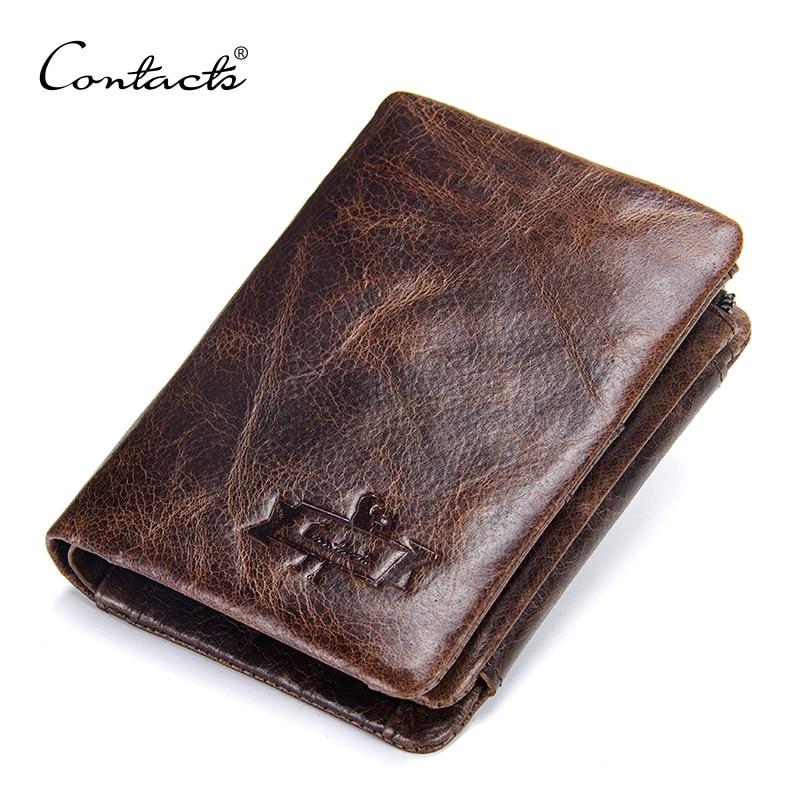 CONTACT'S-محفظة صغيرة من الجلد الطبيعي للرجال ، محفظة عتيقة ، حامل بطاقات رفيع ، محفظة صغيرة