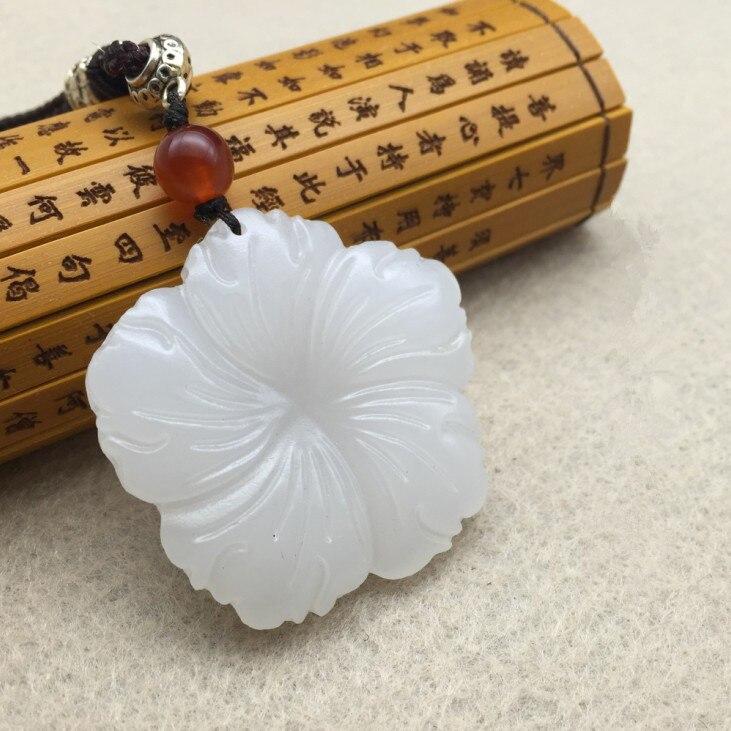 Auténtico afgano natural blanco pendiente de piedra tallado plum colgante de joyería femenina JADES de joyería con cuerda para cuentas collar