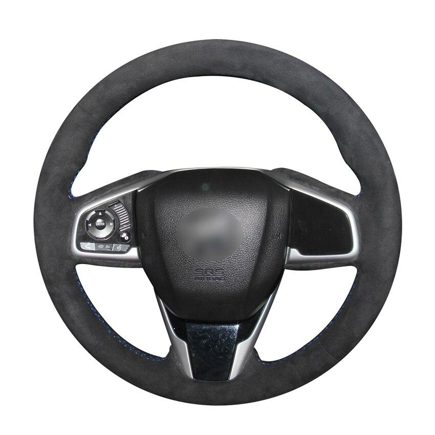 Mão-costurado diy preto camurça volante do carro capa para honda civic civic 10 2016-2019 crv CR-V 2017-2019 clareza 2016-2018