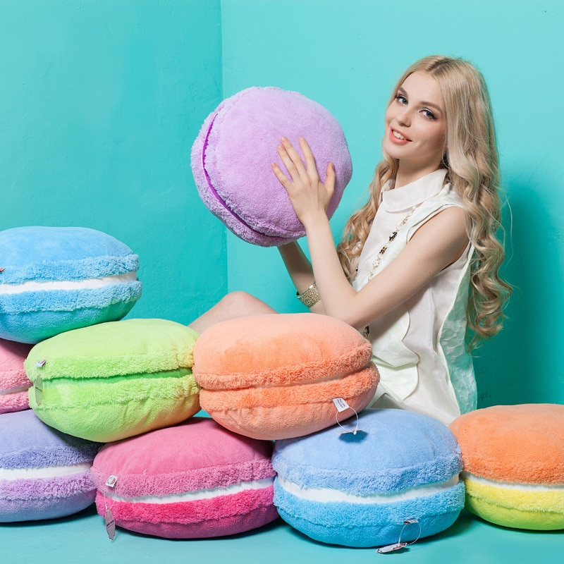 نقية ملونة لينة كعكة مستديرة وسادة أفخم دمية الإبداعية الفرنسية معكرون أريكة المنزل الديكور الحرف الزفاف هدية الكريسماس 37 سنتيمتر